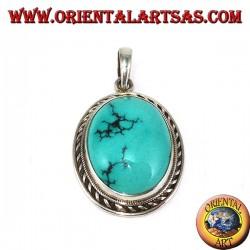 Ciondolo in argento con Turchese Tibetano naturale e bordo a da treccia