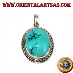 Silver pendant with natural Tibetan Turquoise and braided edge