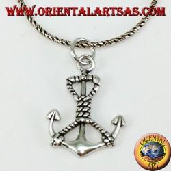 Ciondolo  in argento àncora marina con corda (media)