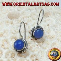 Silberohrringe mit rundem blauen Achat, einfacher Anhänger