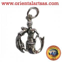 Silver pendant, Aquarius