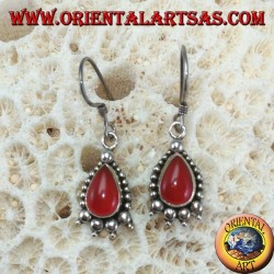 Silver earrings with drop carnelian decorated with silver dots