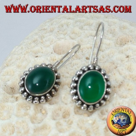 Silver earrings with oval green agate surrounded by two rows of dots
