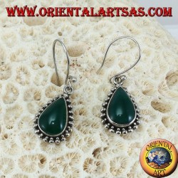 Silver earrings with green drop agate surrounded by two rows of dots
