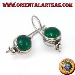 Boucles d'oreilles en argent avec agate verte ronde, style Bali