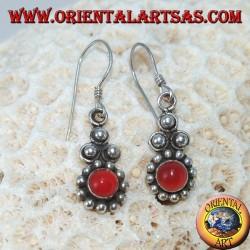 Серебряные серьги с круглым сердоликом Бали (маленький)