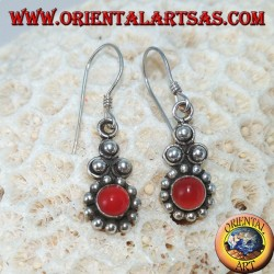 Silver earrings with round carnelian Bali (small)