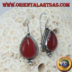 Silver earrings with drop carnelian decorated with braid