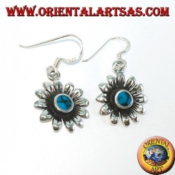 Silver daisy flower earrings with turquoise