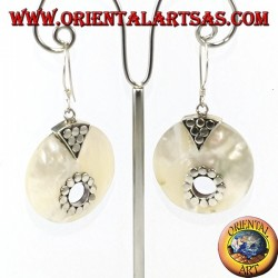 Silver earrings with round mother-of-pearl with hole