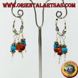 Silver earrings in circle with pendants of amber and turquoise