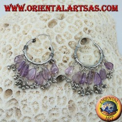 Silver hoop earrings with amethyst drop pendants