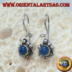 Silver earrings with round blue agate and dots decorations