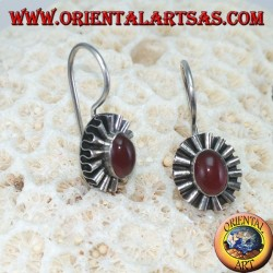 Silver earrings with oval carnelian and wave contour