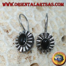 Silver earrings with oval onyx and wave contour