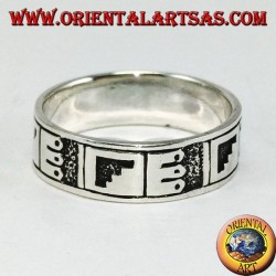 Anello a fascia in argento a bassorilievo Maya