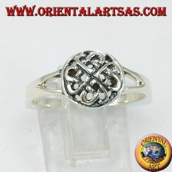 Silver ring of the lover's Celtic knot