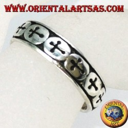 Silver rings with crosses for feet or phalanxes