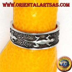 Silver rings with gecko for feet or phalanxes
