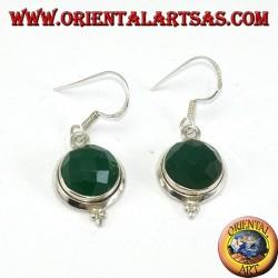 Серебряные серьги с граненым круглым зеленым агатом