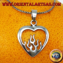 Silver pendant, heart with fire