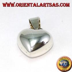Ciondolo in argento, cuore spesso (bombato) liscio piccolo
