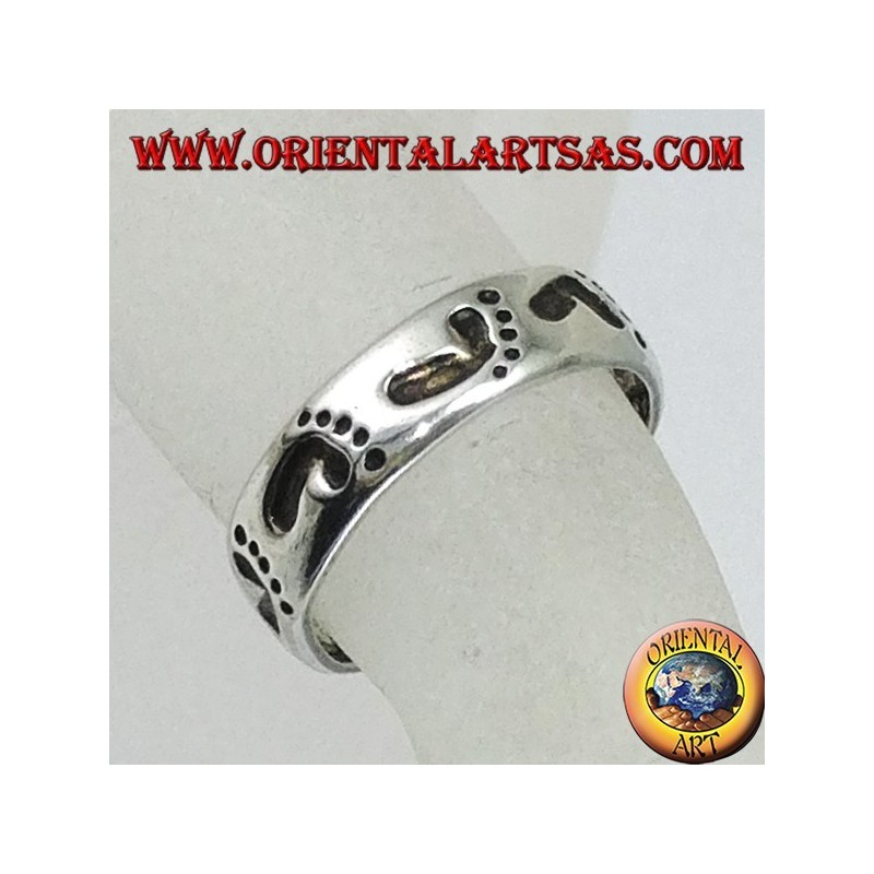 Silver rings with foot print, for toes or phalanxes