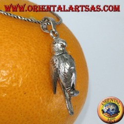 Silver pendant Parrot mobile moves wings and neck