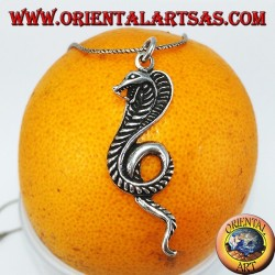 Silver pendant, royal cobra snake (large)