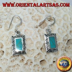 Silver earrings with rectangular turquoise and carved Greek border