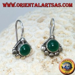 Silver earrings with round green agate with 5 studs