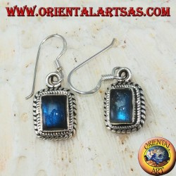 Silver earrings with rectangular Labradorite