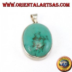 Silver pendant with natural Tibetan Turquoise oval and smooth edge