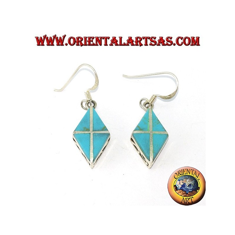 Silver earrings in the shape of a rhombus with four turquoises