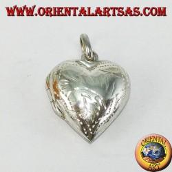 Ciondolo in argento Portafoto cuore intarsiato (piccolo)