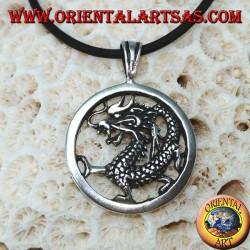 Серебряный кулон, дракон в круге