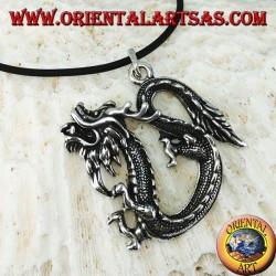Китайский дракон серебряный кулон (большой)