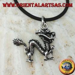 Ciondolo in argento, dragone cinese (medio) tridimensionale