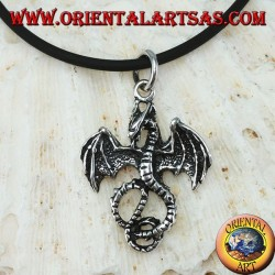 Pendentif en argent, basilic celtique dragon (moyen)