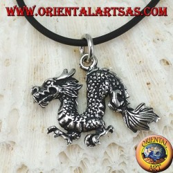 Серебряный кулон, китайский дракон (средний)
