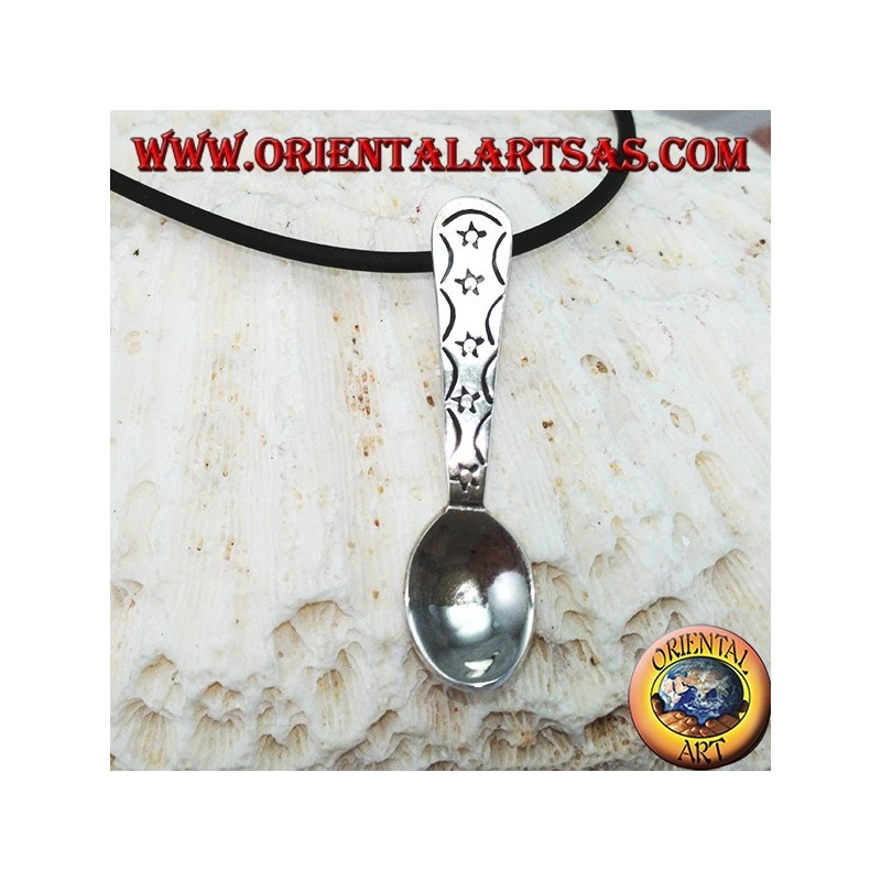 Silver pendant small spoon with engraved little stars