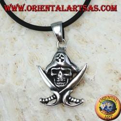 Ciondolo in argento teschio pirata