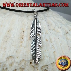 Pendant in silver feather symbol of purification of the natives of America