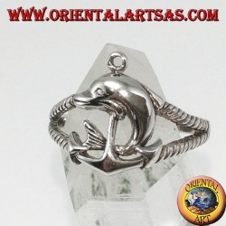 Anillo de plata todavía marino con delfín