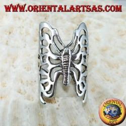 Grande bague papillon perforée en argent