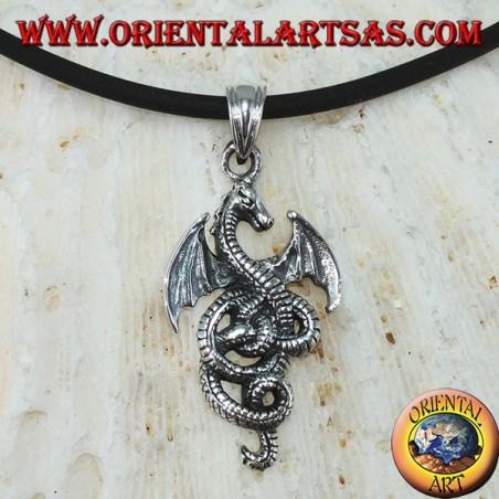 Ciondolo in argento, drago celtico basilisco (piccolo)