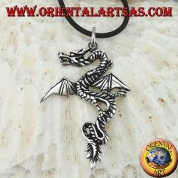 Ciondolo in argento, drago celtico con ali  aperte