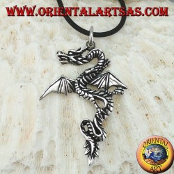 Silver pendant, Celtic dragon with open wings