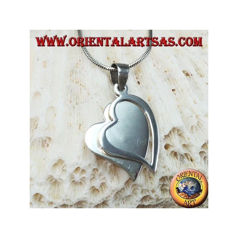 7a905dcdb3e0 Colgante de plata con dos corazones