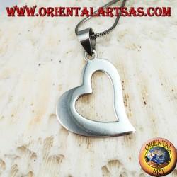 Silver heart pierced pendant